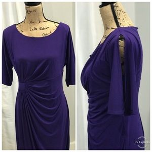 Dress Barn faux wrap purple dress size 12